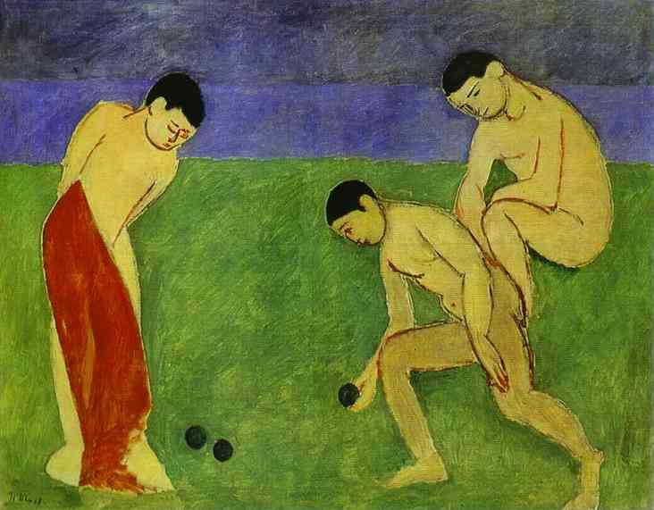 Matisse - Boys On Grassy Meadow, Violet River, and Multi-violet Sky Backdrops (Melancholic and Intellectual Phases are Touched by the Tonal Sadness)