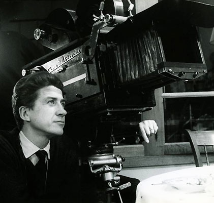 "Alain Resnais is mesmerized by his future film ""Hiroshima, mon amour""."