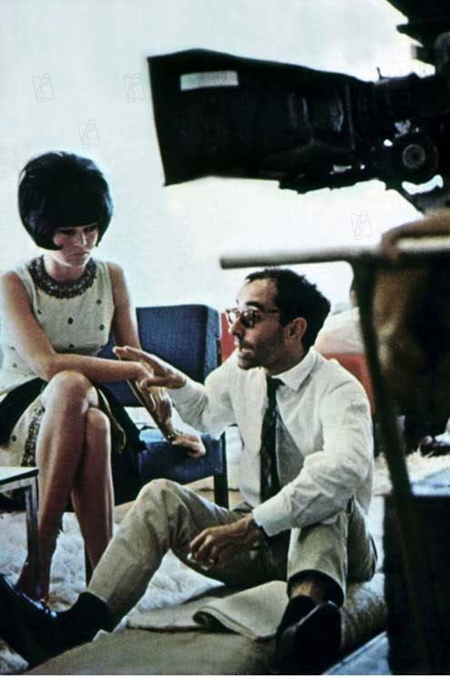 "Godard and Bardot on the set of ""Contempt"""
