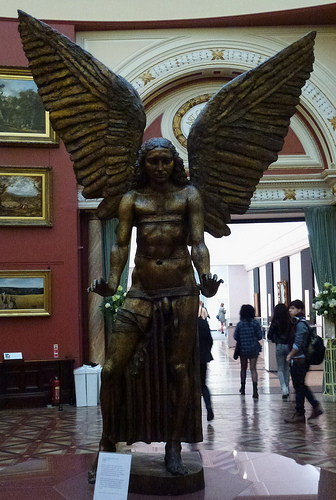 """Jacob Epstein with his sculpture """"Lucifer"""""""