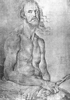 "Durer, ""self portrait as the Man of Sorrow"", 1522"