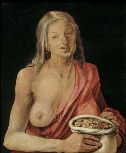 "Albrecht Durer, ""Old Woman with a Bag of Coins (Greed)"", 1507"