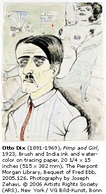 "Otto Dix, ""Pimp and Girl"" (1923)"