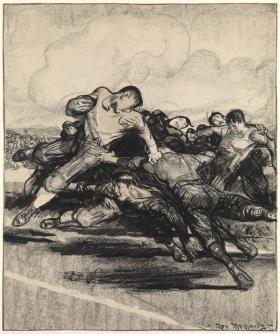 "George Bellows, ""Football"", Crayon ink drawing"