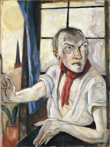 "Max Beckmann, ""Self-portrait With Red Scarf"" (1917)"