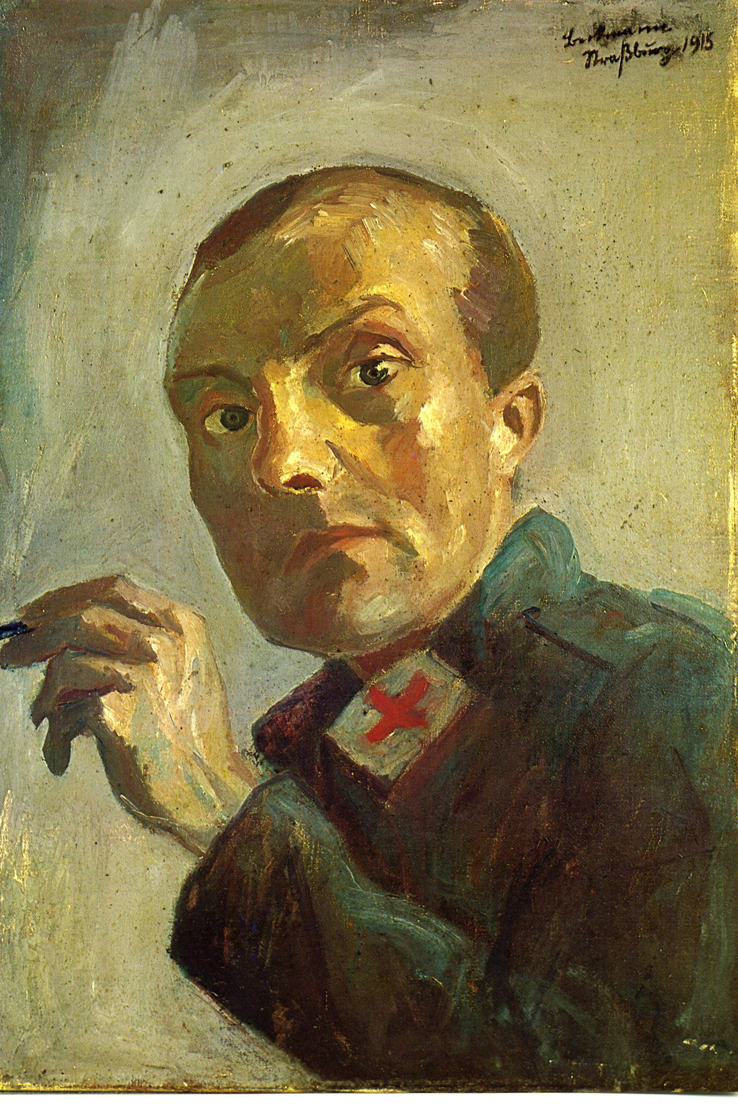 "Max Beckmann, ""Self-portrait as Medical Orderly"", 1915"