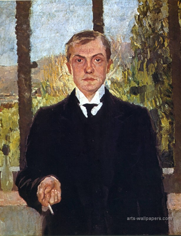 "Max  Beckmann, ""Self-portrait in Florence"" (1907)"