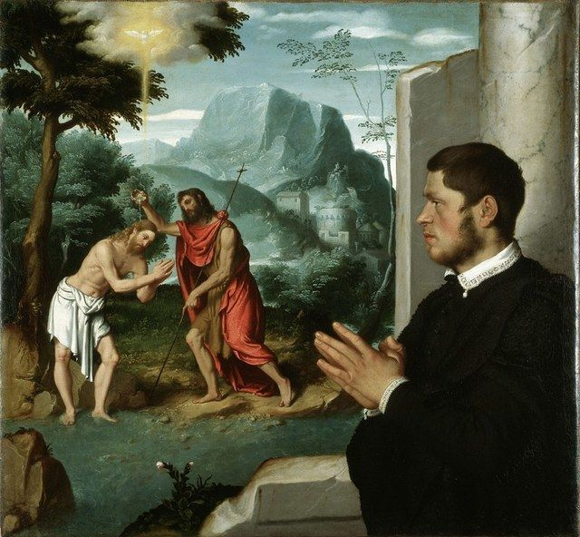 "Giovanni Battista Moroni, ""A Gentleman in Adoration before the Baptism of Christ"" (1555 – 1560)"