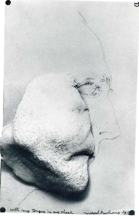 Marcel Duchamps Self Portrait With My Tongue In My Cheek 1959